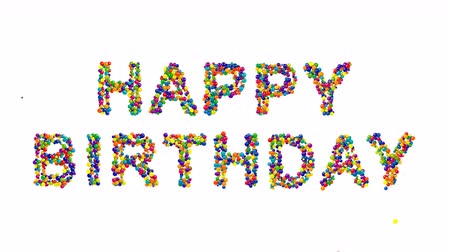 kart : Colorful creative Happy Birthday card design with vivid multicolored text in the colors of the spectrum FORMED of densely packed balls isolated on white with copyspace for your greeting
