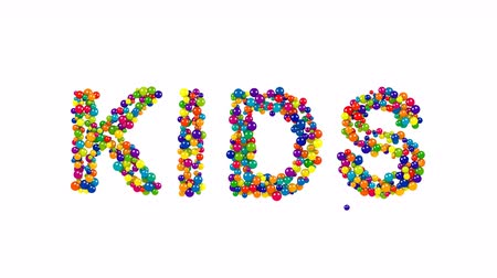 infante : Various sized globes in solid blue, purple, yellow, green and red forming the word kids over white Stock Footage
