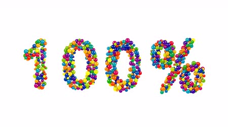 доля : Vibrant festive 100 percent sign FORMED of multicolored balls in the colors of the spectrum over a white background for use as a design template for advertising