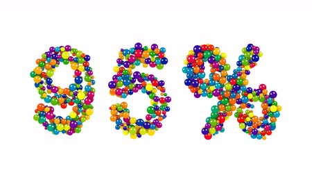 доля : Decorative rainbow colored 95 percent sign FORMED of densely packed small spheres over a white background for use as a design template
