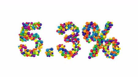 oferta : Joyful colored sign of five point three percent made of 3D marbles on white background