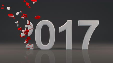 2017 New Year design with reflection on floor and Voronoi fracture