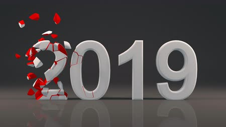 2019 New Year design with reflection on floor and Voronoi fracture