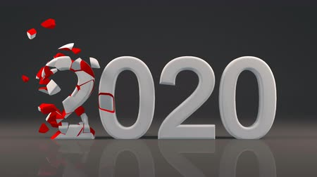 2020 New Year design with reflection on floor and Voronoi fracture Vídeos