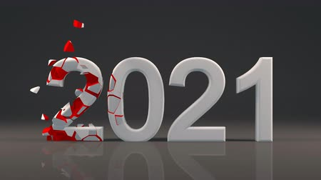 2021 New Year design with reflection on floor and Voronoi fracture