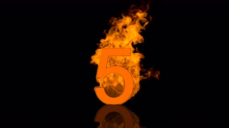 Flaming Number Five Burning Into Orange Background Vídeos