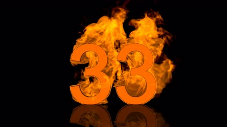 otuzlu yıllar : Flaming Number Thirty Three Burning in Orange Fire