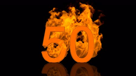 Flaming Number Fifty Burning in Orange Vídeos