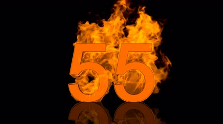 Flaming Number Fifty Five Burning in Orange