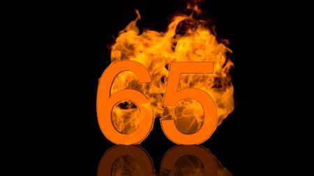Flaming Number Sixty Five Burning in Orange Fire