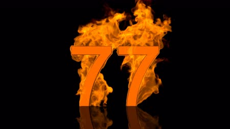 Flaming Number Seventyseven on black background with reflection as 3D rendering