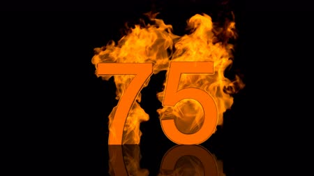 Flaming Number Seventyfive on black background with reflection as 3D rendering