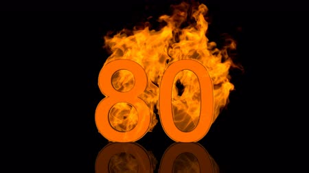 Flaming Number Eighty Centimeter on Black Background with reflection as 3D rendering