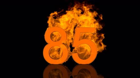 Flaming Number Burning in Orange Fire 3D rendering Vídeos