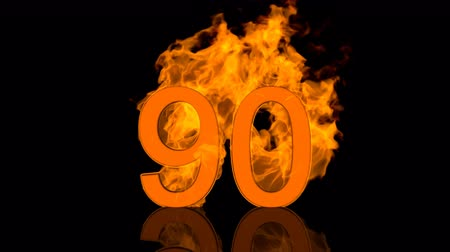 Flaming Number Ninety Burning in Orange Fire 3D rendering