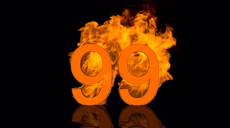 Flaming Number Ninety Five Burning in Orange Fire Vídeos