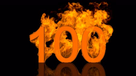 Flaming Number Hundred Burning in Orange Fire 3D rendering
