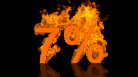 Flaming Seven Percent Burning in Orange Fire 3D rendering
