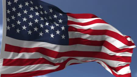 háttérrel : Flag of USA blowing on the wind, close up looped slowmotion