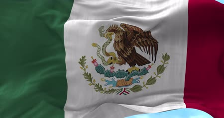 meksika : Close up Mexico flag blowing in the wind, looped slowmotion, 4K