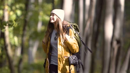 expedição : Relaxed tourist girl, in yellow jacket and warm hat, walking through the forest, slowmotion on beautiful fall day
