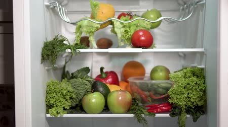 капуста : Indoor shot of full fridge, timelapse of man taking fruit and vegetables out of the fridge Стоковые видеозаписи