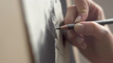 şaheser : Female artist drawing a picture of a man, indoor closeup Stok Video