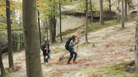 interessi : Couple of pals going trekking in the forest, going up another hill to reach preferred destination