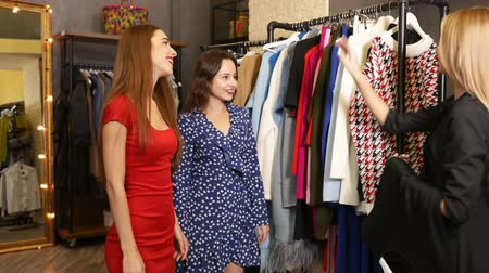 barganha : Two elegant women came to the clothes shop to pick up an outfit for upcoming season, good-looking consultant giving advice about the purchase, indoor shot in modern store Vídeos