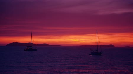 baleár : Sailing ships at the sea after the sunset