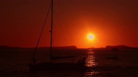 baleár : Balearic sea sunset with sailing ship