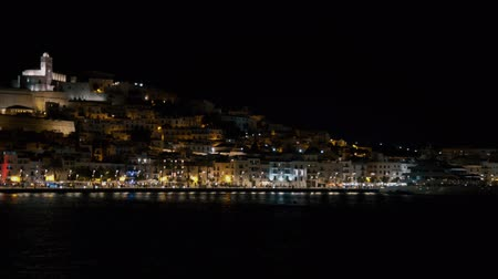 dark bay : Ibiza fort castle Dalt Vila at night