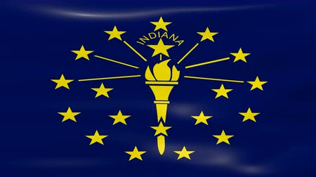 united states : Waving Indiana State Flag, ready for seamless loop.