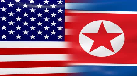 north korean flag : Waving USA and North Korea Flag, ready for seamless loop.