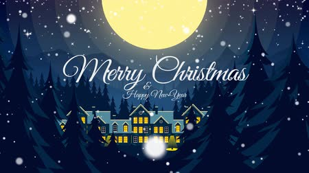 dağ evi : Video greeting with Merry Christmas and Happy New Year! Santa Claus flying in sleigh through moon sky motion graphics. Magic xmas holiday winter night screensaver. Loop animation fantastic snow falls. Stok Video