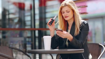 coffe : blonde in cafe Stock Footage