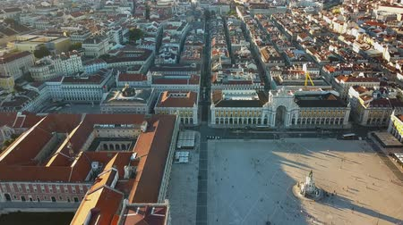 augusta : Sky view from the charming city of Lisbon and its downtow Stock Footage