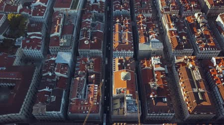 baixa : Sky view from the charming city of Lisbon and its downtow Stock Footage