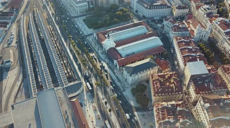 comercio : Sky view from the charming city of Lisbon and its downtow Stock Footage