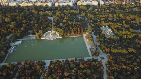 madryt : flight drones over the famous Park of the Retiro of Madrid