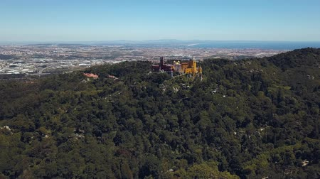 Drone Mountaintop Pena National Palace Romanticist Sintra Стоковые видеозаписи