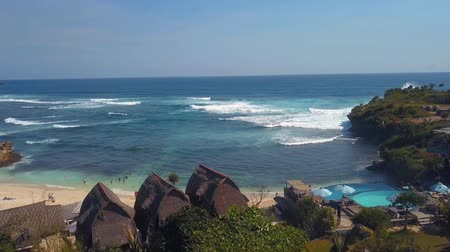 beautiful blue ocean in bali indonesia Stock Footage