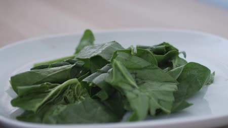 espinafre : Spinach leaves lie on a white plate. The cook tears their hands for salad