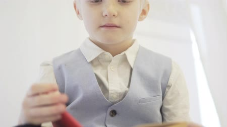 A blond boy is reading a thick book. The face of the child and the book closeup. He seriously reads a fairy tale, turns the pages. Cute video with a boy of 6 years and a book