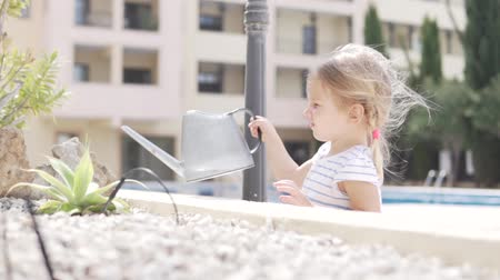 ficus : A little blond girl gently waters a flower on the street. The child holds a large watering can with water and pours water on a flower growing in the stones. Stock Footage
