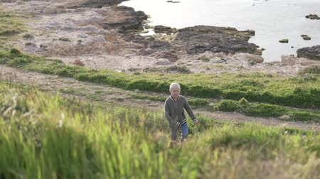 see off : The boy blond walks in the park by the sea. The child rises up the hill