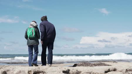 kum saati : An older man and woman stand with their backs to the camera and look at the seas. Grandpa gently hugs her grandmother. Cute mature tourists on holiday in Cyprus in winter Stok Video
