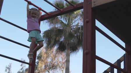 climbed : The girl on the playground climbs on the handle and horizontal bar. Baby hanging on the crossbar on the playground by the sea. The little girl climbed the ladder of the game complex high above the gro