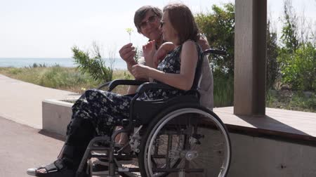 gips : An elderly man gives a flower to his wife in a wheelchair. An elderly couple walks by the sea, a woman sits in a wheelchair, her leg is broken. Husband galaantly cares for his disabled wife. Wideo