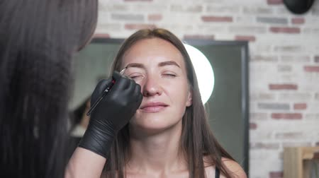 hůlky : the wizard shapes the brows of the client. A woman puts on a black eyebrow brush. Satisfied salon visitor sits in an armchair and enjoys the process